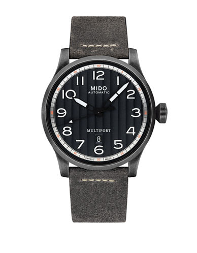 Mido Multifort Leather Watch-GREY-One Size