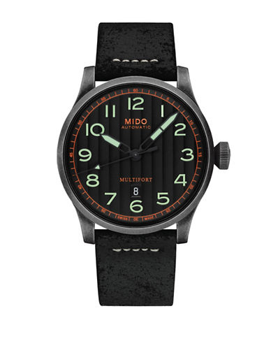 Mido Multifort Leather Watch-BLACK-One Size
