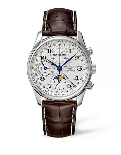 Longines Leather Strap Chronograph Watch-BROWN-One Size