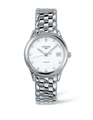 Longines Analog Diamond and Stainless Steel Watch-SILVER-One Size