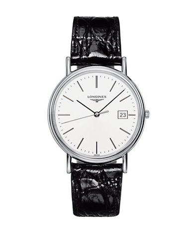 Longines Presence Stainless Steel Alligator Leather Strap Watch-WHITE-One Size