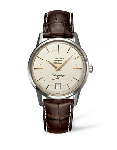 Longines Analog Leather Strap Watch-BROWN-One Size