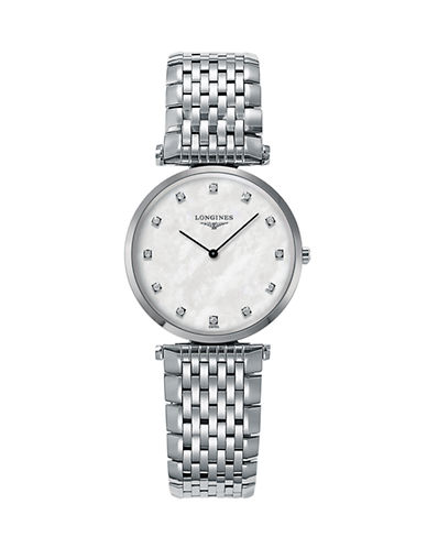 Longines Mother-of-Pearl Stainless Steel Diamond-Marker Analog Watch-SILVER-One Size