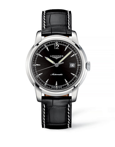 Longines Leather Strap Analog Watch-BLACK-One Size