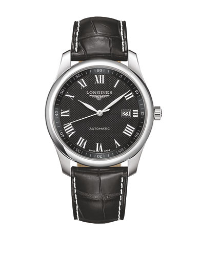 Longines The Longines Master Collection Stainless Steel Alligator Leather Strap Watch-BLACK-One Size