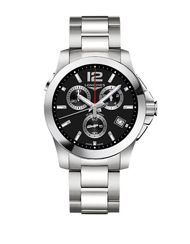 Longines Conquest Chronograph Stainless Steel Bracelet Watch-BLACK-One Size