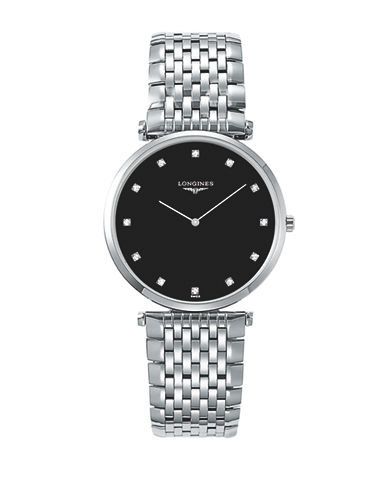 Longines Unisex La Grande Classique de Longines Diamond Stainless Steel Link Bracelet Watch-BLACK-One Size