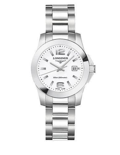 Longines Conquest Stainless Steel Link Bracelet Watch-WHITE-One Size