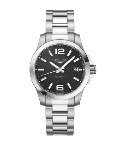 Longines Conquest Stainless Steel Link Bracelet Watch-BLACK-One Size