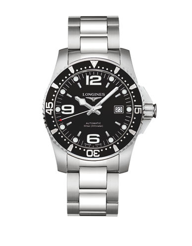 Longines HydroConquest Stainless Steel Link Bracelet Watch-BLACK-One Size