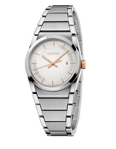 Calvin Klein Analog Step Collection Silvertone Bracelet Watch-SILVER-One Size