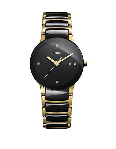Rado Womens Quartz Centrix  R30930712 Watch-BLACK/GOLD-One Size