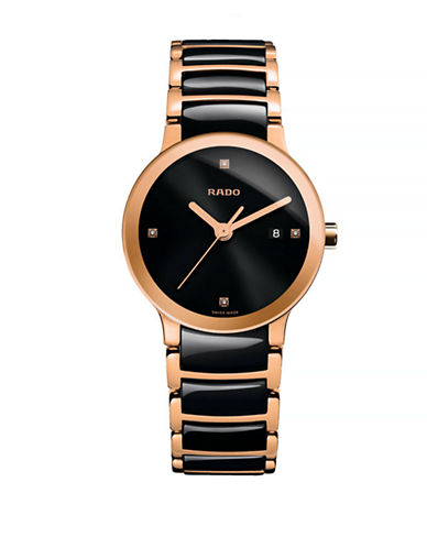 Rado Womens Quartz Centrix  R30555712 Watch-BLACK/ROSE GOLD-One Size