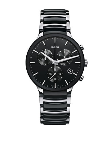 Rado Chronograph Centrix Quartz Ceramic and Stainless Steel Bracelet Watch-BLACK-One Size