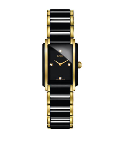 Rado Womens Quartz Integral R20845712 Watch-BLACK/GOLD-One Size