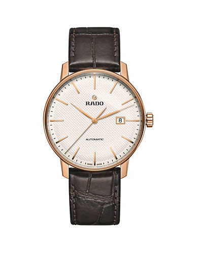 Rado Automatic Coupole Classic Rose Goldtone Embossed Leather Strap Watch-BROWN-One Size