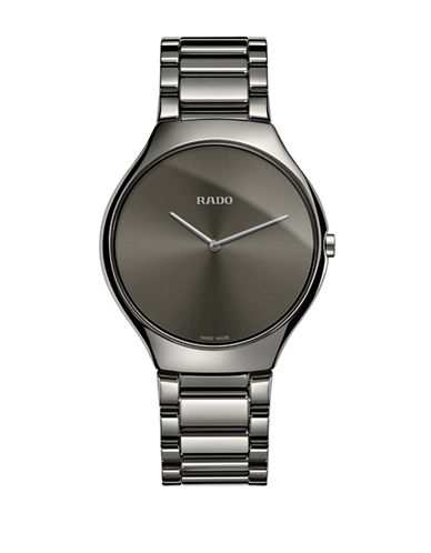 Rado Analog Ceramic Stainless Steel Bracelet Watch-GREY-One Size