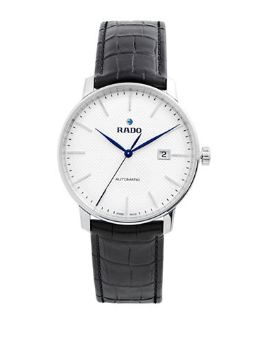 Rado Analog White Dial Black Leather Strap Watch-BLACK-One Size