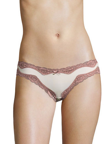 Triumph Microfibre Lace Low-Rise Hipster-SILK WHITE-Large