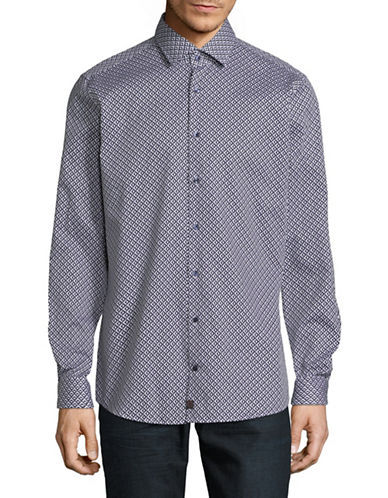 Strellson Sandor-C Printed Cotton Sport Shirt-BLUE-15-32/33