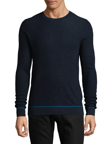 Strellson Wool Long Sleeve Pullover-NAVY BLUE-Large