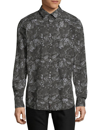 Strellson Sal Floral Cotton Sport Shirt-GREY-16.5-32/33