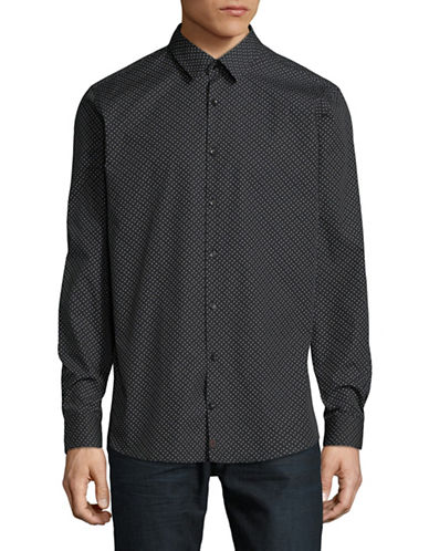 Strellson Sal Dotted Cotton Sport Shirt-BLACK-17.5-32/33