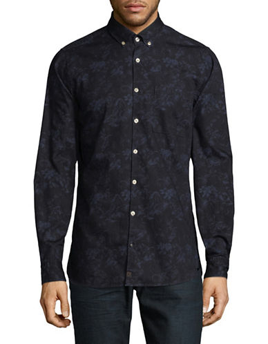 Strellson Sisco-W Floral Cotton Sport Shirt-BLUE-Medium