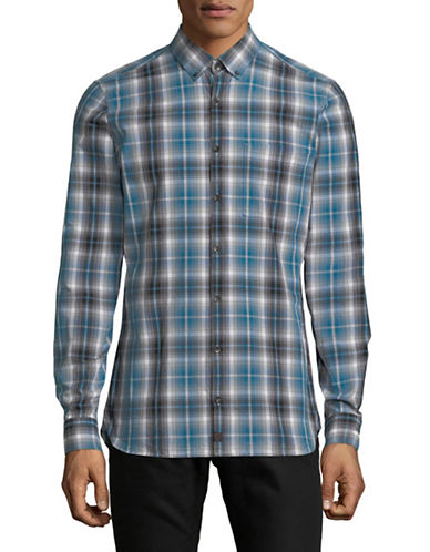 Strellson Sisco-W Plaid Cotton Sport Shirt-BLUE-Medium