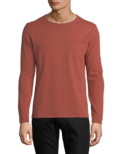 Strellson Cotton Long Sleeve Pullover-BRIGHT RED-X-Large