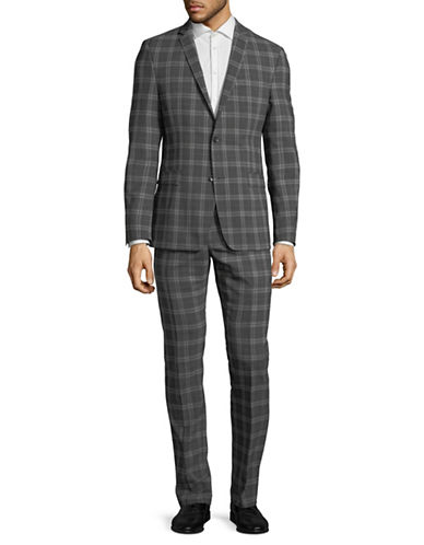 Strellson Plaid Wool-Blend Suit-GREY-42