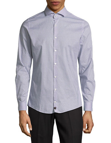 Strellson Printed Spread Collar Sport Shirt-NAVY-16-32/33