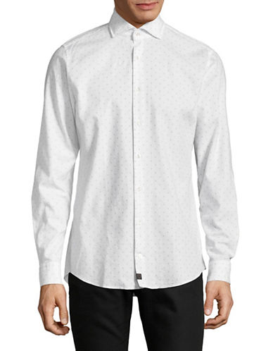Strellson Printed Cotton Sport Shirt-WHITE-16-32/33