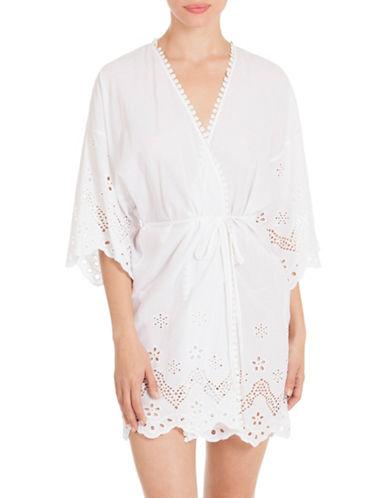 In Bloom Idlewild Cotton Wrapper Robe-WHITE-Medium