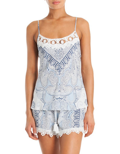 In Bloom Paisley Print Camisole Set-BLUE-Large