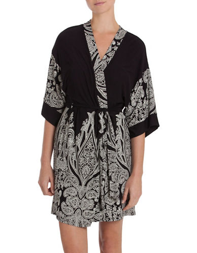 In Bloom Paisley Kimono Robe-BLACK/IVORY-X-Large