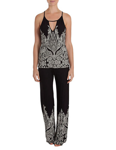 In Bloom Two-Piece Printed Pants and Cami Set-BLACK-Large