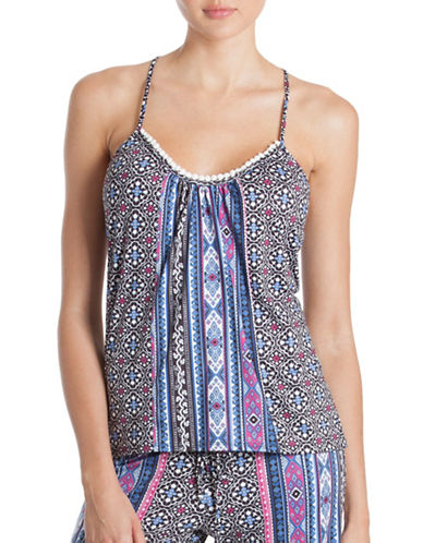 In Bloom Strappy Scoop Neck Camisole-BLUE-X-Large