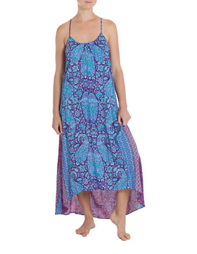 In Bloom Tapestry Midi Gown-PURPLE-Small