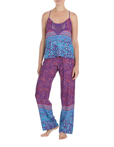 In Bloom Tapestry Pajama Set-PURPLE-Small