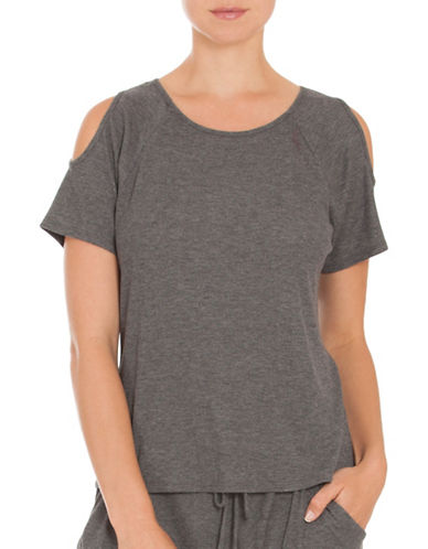 Midnight Bakery Remy Cold Shoulder Top-GREY-X-Large