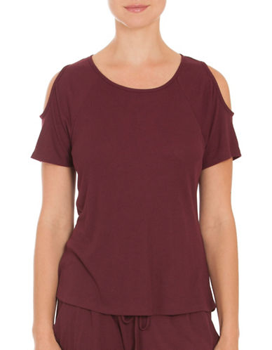 Midnight Bakery Remy Cold Shoulder Top-RED-Small