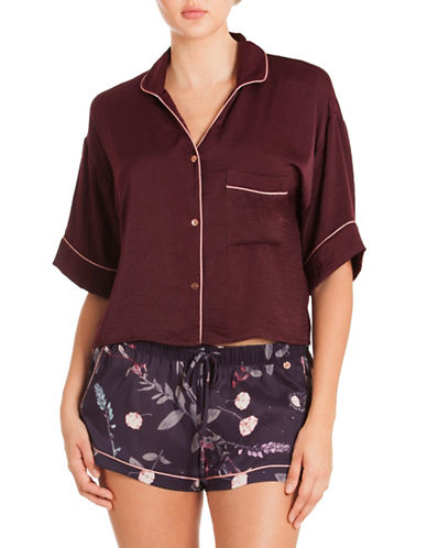 Midnight Bakery Pajama Crop Top-RED-Large