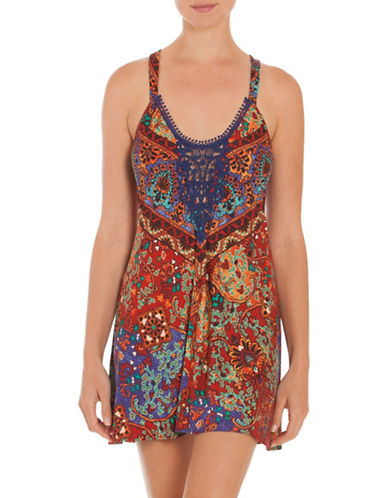 In Bloom Shiraz Printed Chemise-BLUE-X-Large