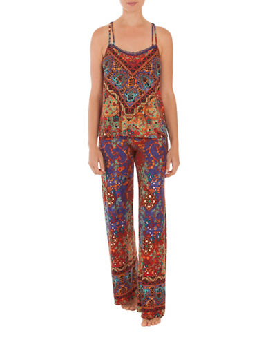 In Bloom Shiraz Sleeveless Pajamas-BLUE-Small