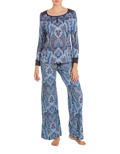 In Bloom Sahara Lace Pyjama Set-BLUE-Small