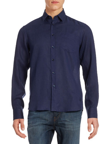 Vilebrequin Solid Linen Shirt-NAVY-Small