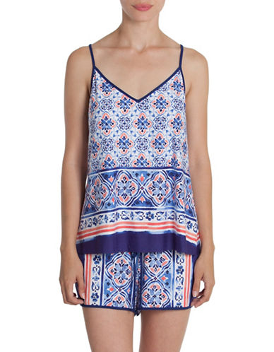 In Bloom Two-Piece Monterey Cami and Shorts Set-BLUE PRINT-Large