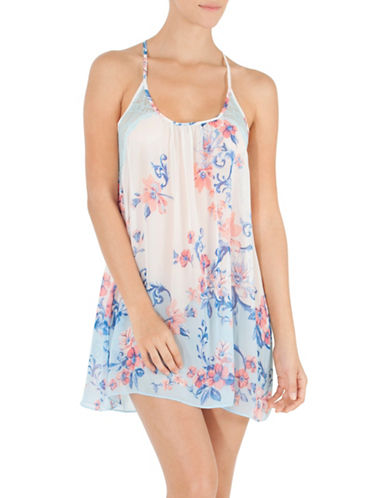 In Bloom Floral Lace Chemise-AQUA MULTI-Large