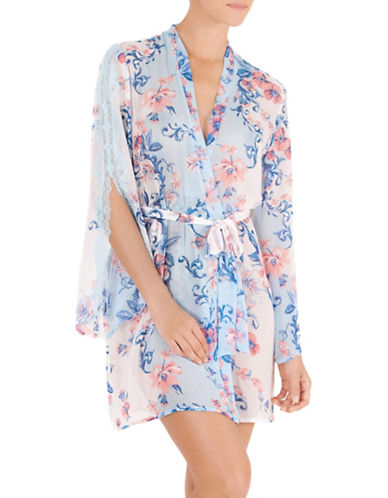 In Bloom Floral Lace Wrap Robe-AQUA MULTI-Medium/Large